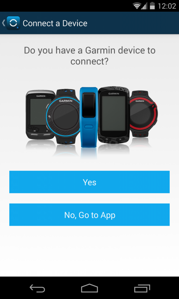 Connect Garmin Vivofit to an Android smartphone.