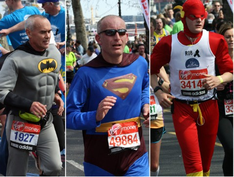 Superheroes running the London Marathon
