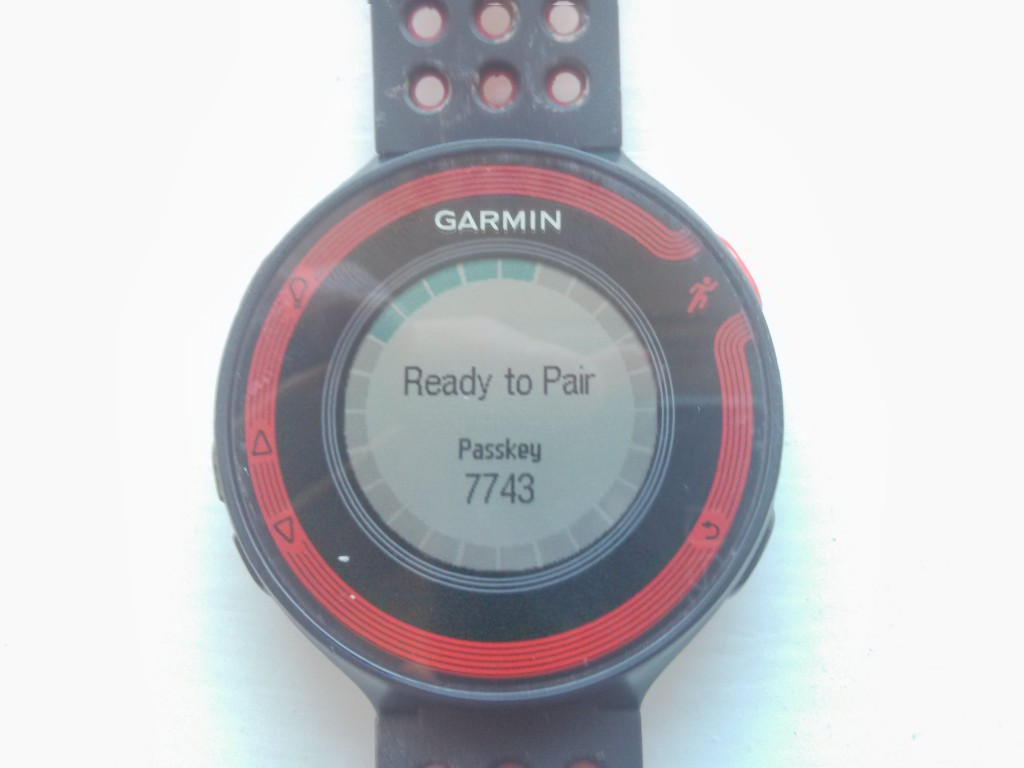 Garmin Forerunner 220 screen for Bluetooth Pairing