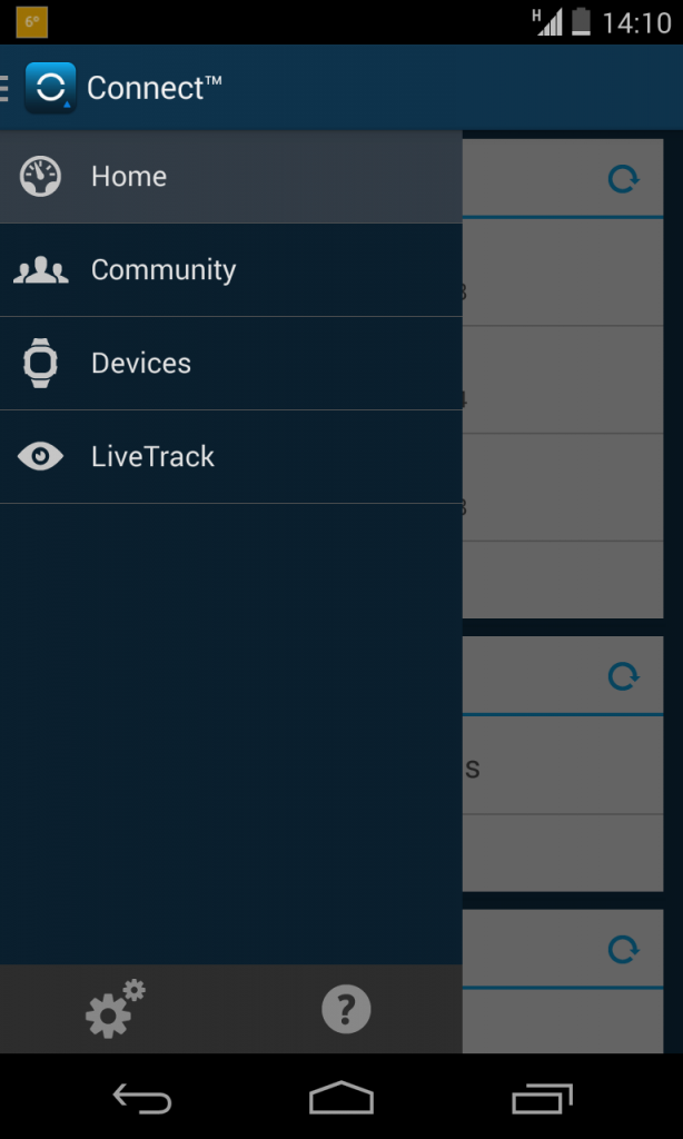 Garmin Connect Home menu Android