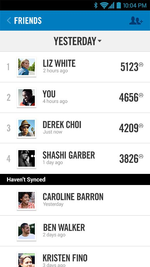 Friend leaderboards - Nike+ FuelBand Android