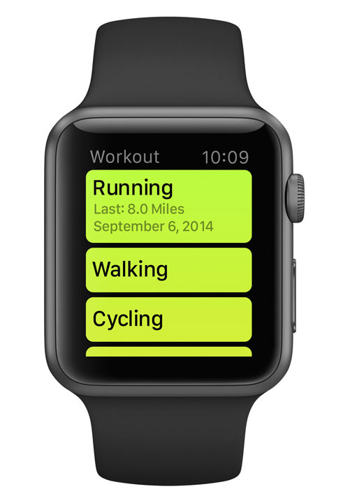 Workout mode on Apple Watch Sport