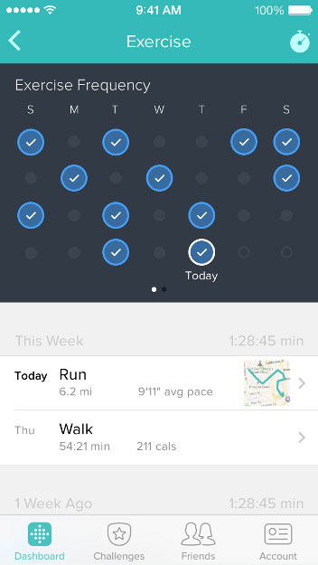 Review your distance data within Fitbit Surge.