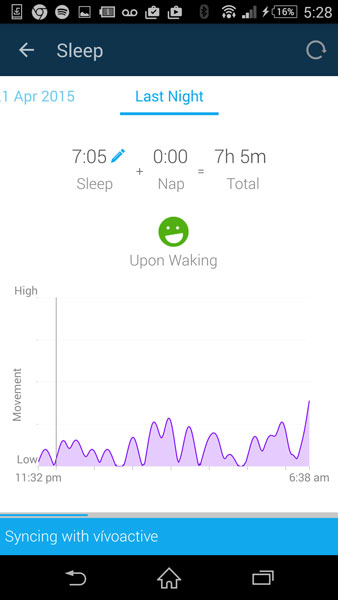 Garmin Vivoactive - Sleep tracking